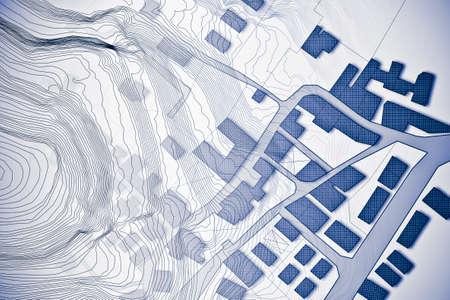 Denkbeeldige kadastrale kaart van grondgebied met reliëfkaart - conceptbeeld Stockfoto