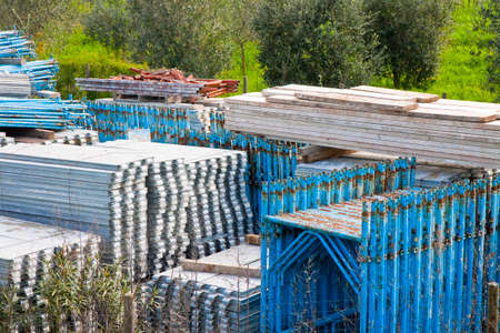 Deposit of colored scaffolds ready to be used Stock Photo