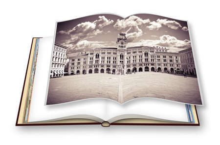 The most important square in Trieste city called Piazza Unità dItalia (it means Square of the Unity of Italy) - (italy) - People are not recognizzable. 3D render of an opened photo book isolated 스톡 콘텐츠
