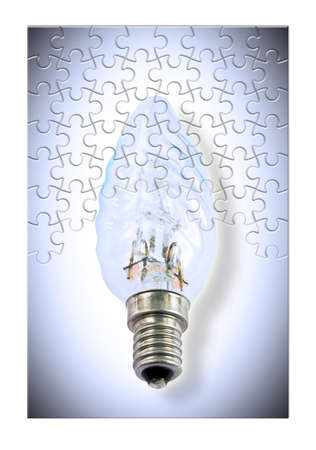Replace old inefficient incandescent light bulbs - concept image in jigsaw puzzle shape