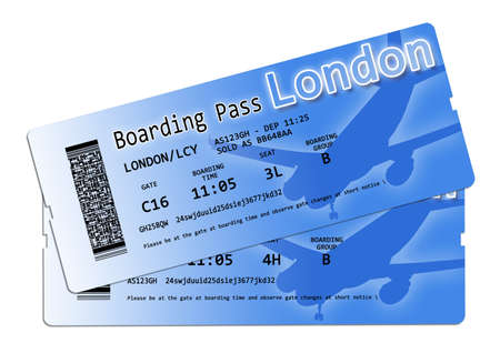 Airline boarding pass tickets to London - The contents of the image are totally invented and does not contain under copyright parts.