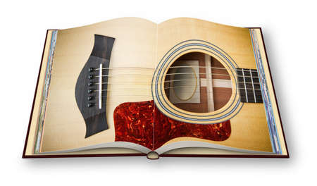 3D render of a wooden acoustic guitar on opened photobook isolated on white background