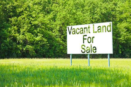 Cartellone pubblicitario immerso in una scena rurale con scritto su terreno libero in vendita - immagine con spazio di copia