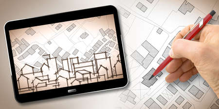 Hand drawing an imaginary cadastral map of territory with buildings, fields, roads and land parcel - Building activity concept image with 3D render of a digital tablet Banque d'images