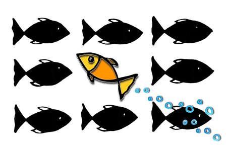 Schwimmen Sie gegen die Flut oder heben Sie sich von der Masse ab - Konzeptbild mit freihändig gezeichneter Illustration