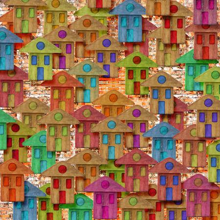 Groupe de maisons en bois colorées - Construire une nouvelle image de concept de ville avec copie espace Banque d'images