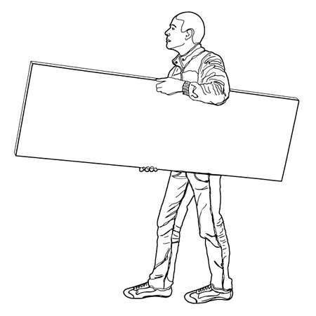 Man carrying a panel in his hand - Freehand illustration on white background for easy selection Reklamní fotografie - 109258879