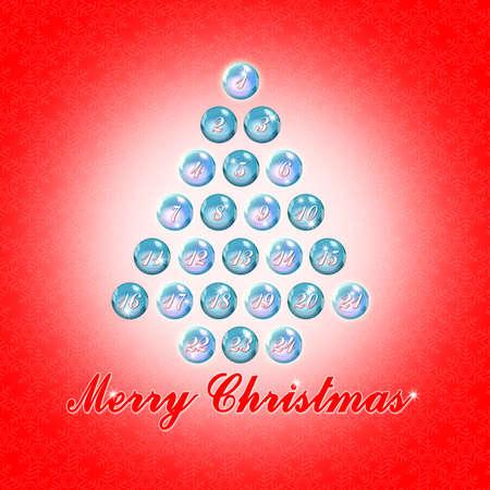 Twenty four days until Christmas - concept image with christmas tree Standard-Bild