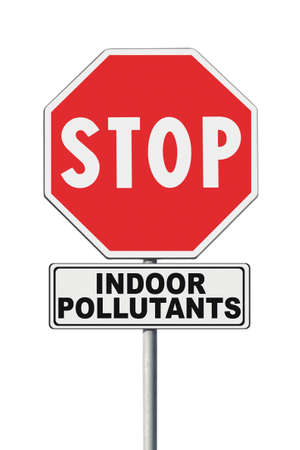 Stop indoor air pollutants - concept image with road sign on white background