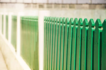 Green wooden fence - image with copyspace