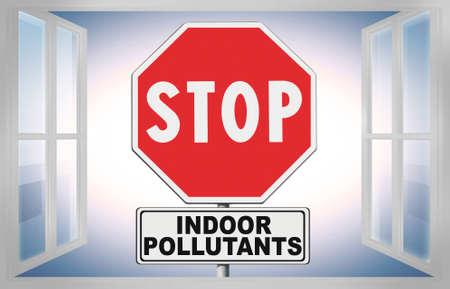 Stop indoor air pollutants - concept image with road sign seen through a window Banco de Imagens