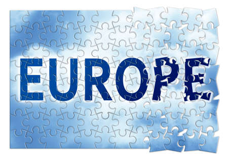 The Europe reconstruction concept image in puzzle shape Stock Photo