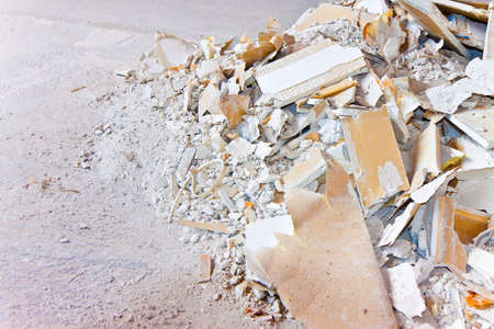 Demolished plasterboard wall  - image with copy space Stock Photo