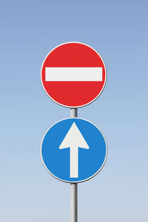 Contradiction concept with road signs - concept image on white background