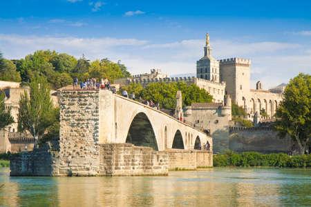Avignon city with the ancient broken medieval bridge of Saint Benezet (Europe-France-Provence)