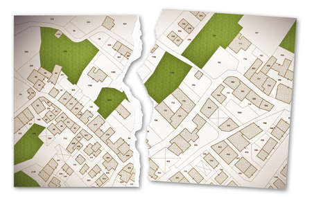Imaginary cadastral map of territory with buildings, roads and land parcel - concept of disagreement with ripped photo Stock Photo