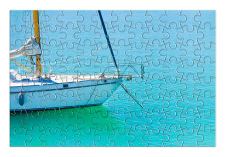 Learning to ride on a sailboat step by step - concept image in puzzle shape 스톡 콘텐츠