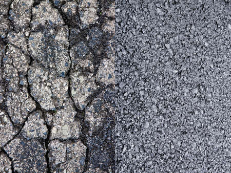 Old damaged cracked asphalt road surface against a new draining asphalt road with an improved adherence surface - concept image Imagens