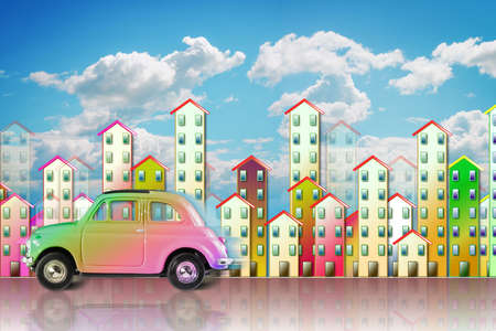 Small colored utilitarian car in a big city - concept image with copy space