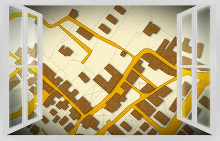 Imaginary cadastral map of territory with buildings, roads and land parcel view from the window - concept image