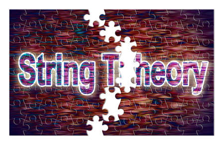 Search for the solution of String Theory - concept image in jigsaw puzzle shape