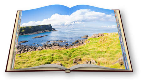 3D render of an opened photo book with Irish landscape (Northern Ireland - United Kingdom) - Im the copyright owner of the images used in this 3D render.