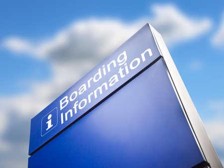 Signage for boarding information - concept image