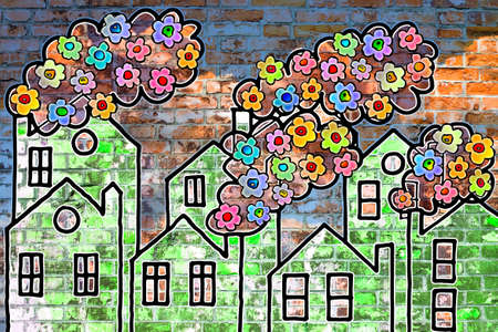 Colored flowers come out of from chimneys of the houses - concept image Reklamní fotografie