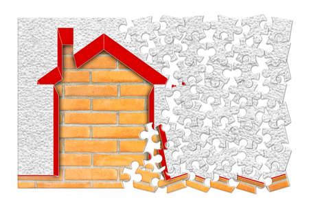 Buildings energy efficiency concept image - 3D render home thermally insulated with polystyrene walls - concept in jigsaw puzzle shape Stock Photo