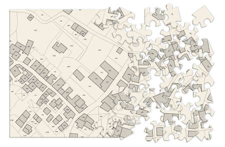 Imaginary cadastral map of territory with buildings and roads - concept image in jigsaw puzzle shape