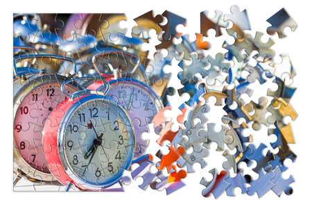 Learn to manage the time - Old colored metal table clocks, concept image in jigsaw puzzle shape