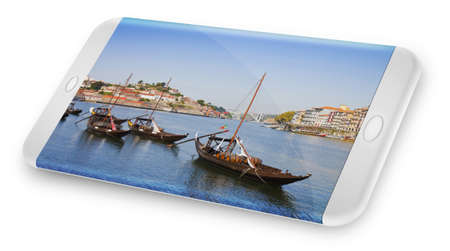 Smartphone concept with 3D render of a typical portuguese boats used in the past to transport the famous port wine (Portugal) Фото со стока