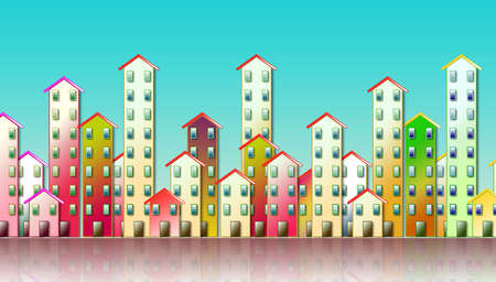 Colored urban agglomeration of a suburb - concept illustration against a blue background