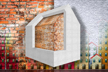Home thermally insulated with polystyrene panels - Buildings energy efficiency 3D render concept image