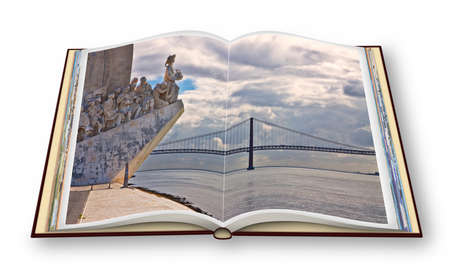Monument to the Discoveries (Padrao dos Descobrimentos) at the Tagus river with view on 25th of April Bridge (Lisbon - Portugal) - 3D render of an opened photo book