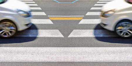 Black and white pedestrian crossing with white car on background - concept image with copy space