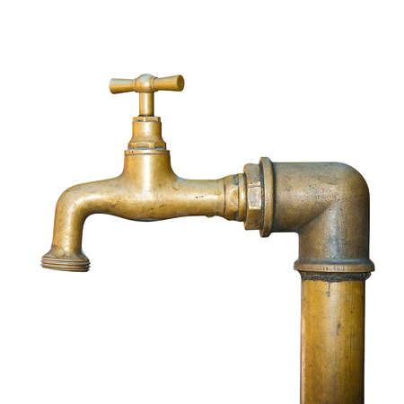 Detail of a water brass faucet isolated on white background