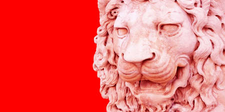 Sculpture of a medieval lion head of stone (Italy) - Image with copy space isolated on white background for easy selection 免版税图像