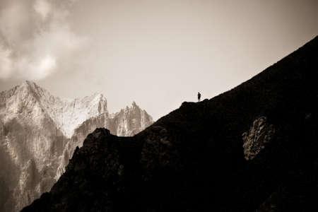Mountain hiking in Dolomites (Trentino Alto Adige - Italy) - concept image