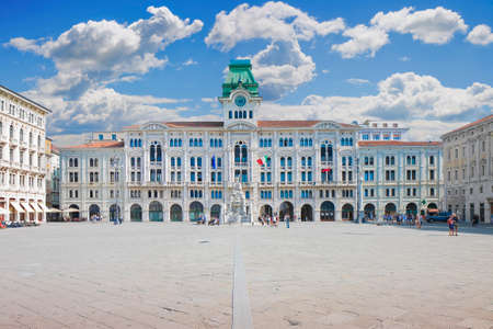 The most important square in Trieste called Piazza Unità dItalia (it means Square of the Unity of Italy) - (Europe - italy -Trieste) - People are not recognizzable. Editorial