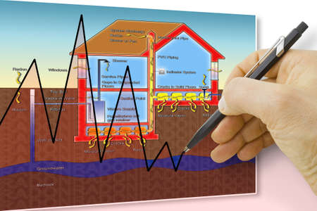 Hand drawing a chart about radon issue - concept image Stock fotó