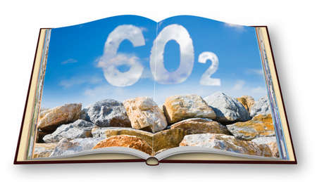 Protection from Co2 carbon dioxide emissions - concept image against a boulders wall on sky background - 3D render concept image of an opened photo book isolated on white - I'm the copyright owner of the images used in this 3D render.