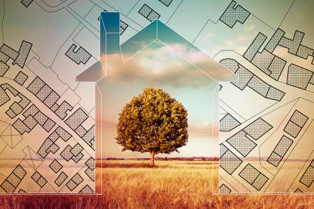 Imaginary cadastral map of territory with buildings, roads and land parcel with an home silhouette and green tree in a field - planning a new home in nature - concept image. Stock Photo - 127170973