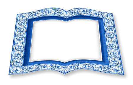 Frame design with typical portuguese decorations called azulejos - 3D rendering concept image of an opened photo book isolated on white - Im the copyright owner of the images used in this 3D render