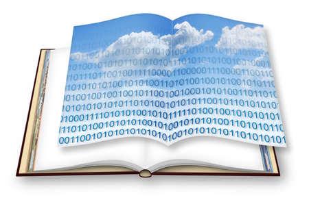 Stockage sécurisé sur le cloud de service - image conceptuelle avec livre photo ouvert - - Je suis le propriétaire des droits d'auteur des images utilisées dans ce rendu 3D Banque d'images