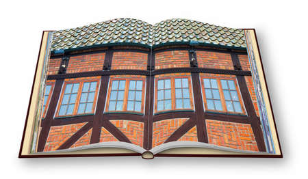 Typical houses in wooden structure and red bricks (Europe - Sweden - Malmo) - 3D render concept image of an opened photo book isolated on white - Im the copyright owner of the images used in this 3D render Фото со стока