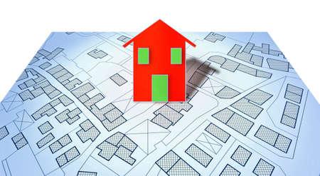 Mapa catastral imaginario del territorio con edificios, carreteras y parcela de tierra - imagen conceptual con una pequeña casa roja.