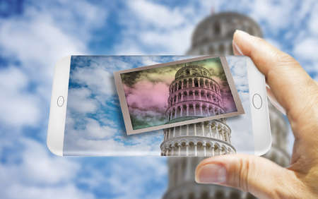 Hand holding a smartphone with a picture of the famous Leaning Tower (Italy - Pisa) - 3D render concept image
