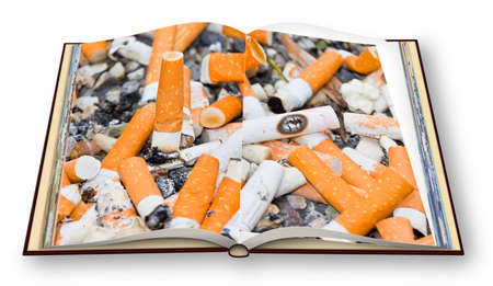 Opened photo book with cigarette background - 3D render concept image - Im the copyright owner of the images used in this 3D render