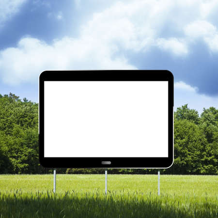 Blank advertising billboard, in the form of a digital tablet, immersed in a rural scene - 3D render concept image with copy space Фото со стока